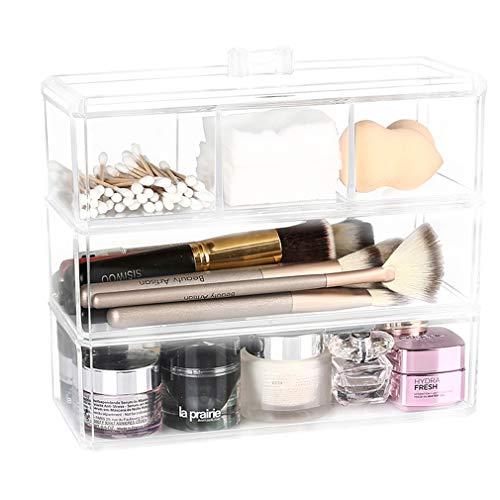Support Cosmétique de Stockage de Table D'organisateur Support de Boîte de Vanité D'espace Libre de Couche 3 pour Des Accessoires de Maquillage, Bijoux, Vernis À Ongles