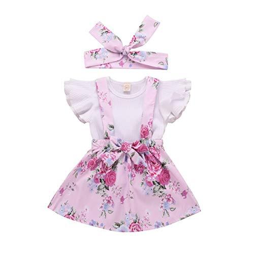 Miyanuby Kleinkind Baby Mädchen Kleidung Set Kurzarm Crewneck T-Shirt Top + Blumenkleid 2 Stück Röcke Outfit Set -