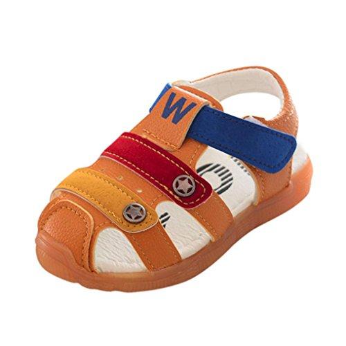 SOMESUN Fashion Baby Jungen Sandalen Kinder Hohl Anti-Rutsch Kunstleder Weiche Sohle Beiläufig Freizeit Strand Single Star Schuhe Sneaker (EU24, Gelb) (Kleinkinder Jordan Schuhe Für Mädchen)