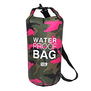 awhao Camouflage Portable Diving Dry Bag PVC Waterproof Folding Swimming Storage Bag for Outdoor Rafting River Trekking, pink, 10L