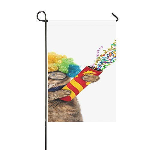 Kostüm Ein Macht Clown - QuqUshop Wohnkultur Outdoor Doppelseitige Lustige Katze Trägt Kostüm Clown Halten Garten Flagge Haus Hof Flagge Garten Hof Dekorationen saisonale Willkommen Outdoor Flagge 12x18 In