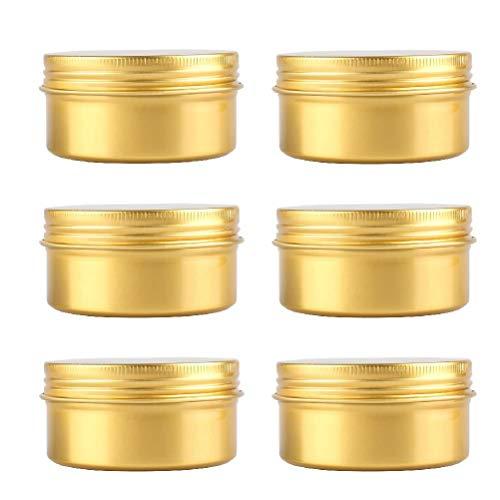 bubussv 50PCS 80ml Or Vide Aluminum Conteneurs-Cosmétique Canettes Boîtes avec Couvercle à Vis pour Crème Baume Bougie Perles Bijoux Stockage échantillon