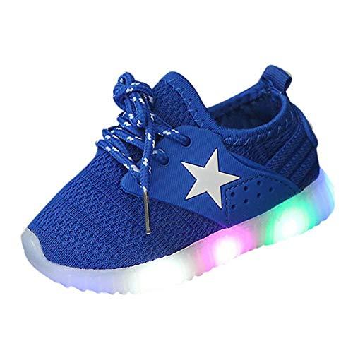 Doublehero Baby Mädchen und Jungen Kleinkind Mode Stern leuchtendes Kind Bunte helle Schuhe Kinder Schuhe mit Licht Led Leuchtende Blinkende Turnschuhe für Kinder (23, Blau)