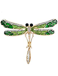 Joyería Pin Broche Diseño de Libélula Personalidad Insectos Novedad Cristalina