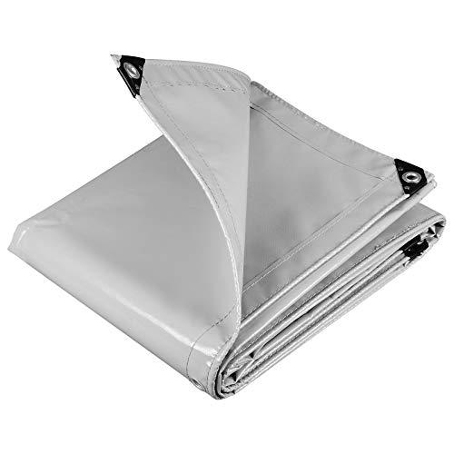 WOLTU GZ1208m06 Telone Occhiellato Impermeabile Telo di Protezione Pesante Antipioggia Copertura da Esterno PVC 500 g/m² 4x5 m Grigio Chiaro