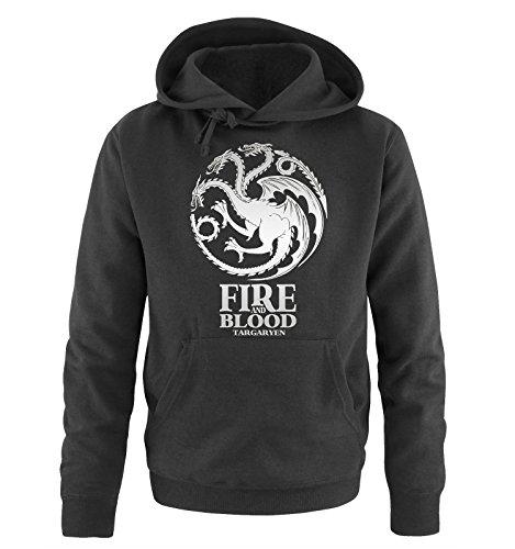 Preisvergleich Produktbild Comedy Shirts - Game of Thrones - FIRE AND BLOOD - Herren Hoodie - Schwarz/Silber Gr. S