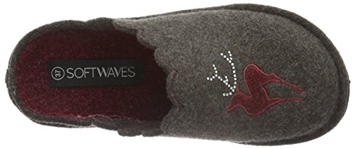 Softwaves Damen Hausschuh Pantoffeln Braun (300 DK. BROWN)