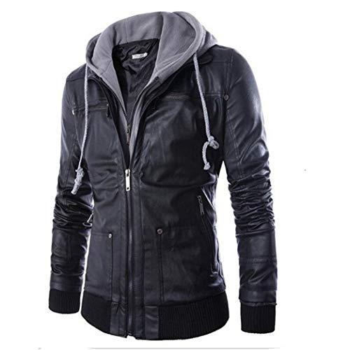 CICIYONER Top Bluse für Männer, Männer Leder Herbst Winter Jacke Radfahrer Motorrad Reißverschluss Outwear Warm Mantel
