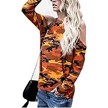 Bestow Camisa de Manga Larga con Blusa de Camuflaje de Manga Larga para Mujer Camisa de