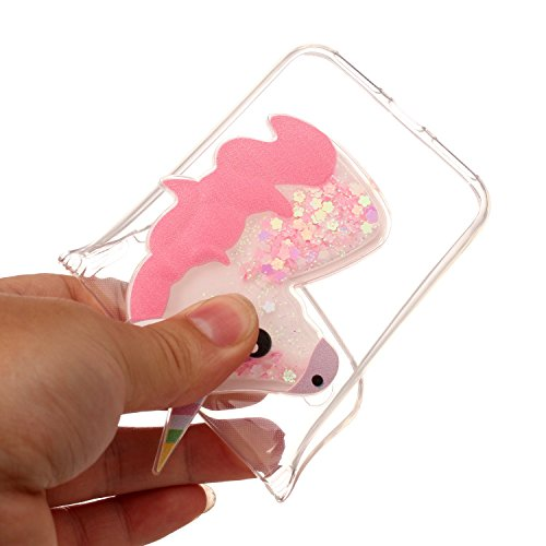 Cover iPhone 7 Plus 8 Plus Unicorno, E-Unicorn Custodia Cover Apple iPhone 7 Plus 8 Plus Brillantini Glitter 3D Rosa Unicorno Liquido Trasparente con Disegni Cristallo di Bling Silicone Ultra Sottile  Rosa