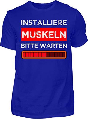 Kreisligahelden T-Shirt Herren Lustig Dart und Bier - Kurzarm Shirt Baumwolle mit Spruch Aufdruck - Hobby Freizeit Fun Dart Darts 180 (XL, Blau)
