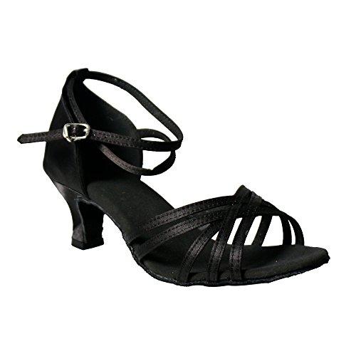 YFF Donna di ballo latino scarpe sandali di raso Ladies partito sociale Black