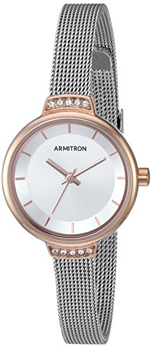 Armitron Women's 75/5476SVTR Swarovski Crystal Accented Silver-Tone Mesh Bracelet Watch