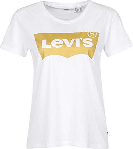 Levis The Perfect Tee Gold Batwing White XS