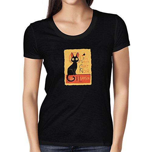 NERDO - Le Chat Noir - Damen T-Shirt, Größe L, (Kiki Kostüm Hexe)