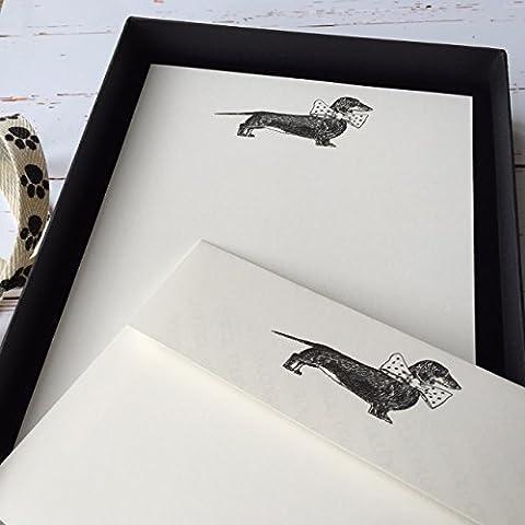 Wagtail Designs-Set di carta da lettera con disegno cane bassotto, in scatola, colore: nero con nastro da 12,18 o 36 fogli di carta da lettera e buste) Ivory (Cream) - Carta Stationery Set