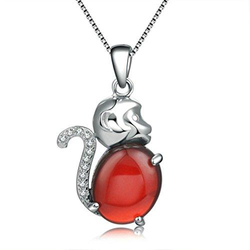 amdxd Jewelry Damen-Anhänger Versilbert Halskette Red Monkey birthady Geschenk
