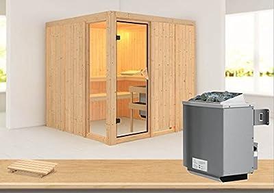 Helin - Karibu Sauna inkl. 9-kW-Ofen - ohne Dachkranz - von Woodfeeling GmbH bei Du und dein Garten