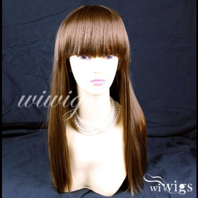Silky Long Heat Resistant Straight Ladies Wigs Light Chestnut Brown Wig #8 UK
