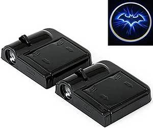 Altcompluser 2 Stk Türbeleuchtung Logo Wireless Auto Schwarzer Schläger Autotür Projektion Led Door Shadow Licht Laser Projektor Geist Magnet Sensor Lampen Set Blue Bat Batman Schwarz Auto