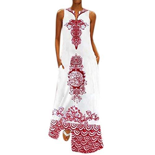 Zegeey Damen Kleid Retro ÄRmellos V-Ausschnitt BöHmen Blumen Drucken Sommer Maxikleid Sommerkleider Strandkleider Blusenkleid(B3-rot,EU-42/CN-2XL)