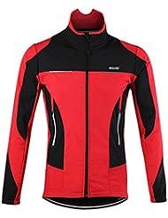 emansmoer Homme Résistant à l'eau Respirant Veste de vélo cyclisme cycliste Coupe-vent Doublé polaire Mantel Vêtements de sport