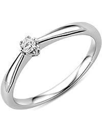Orovi Damen Verlobungsring Gold Solitärring Diamantring 9 Karat (375) Diamant 0.09crt Weißgold Ring mit Diamanten