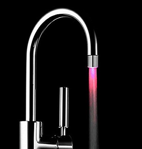Elch-outdoor-beleuchtung (ZEZKT-Home Wasser Leuchtend LED Wasserhahn Licht Lampe Color Ändern Wasser Leuchten Wasserstrahl Dusche LED Wasserhahn Armaturen Licht (Silber))