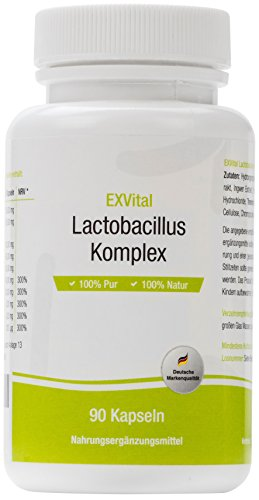 EXVital Lactobacillus Komplex, 10 Milliarden KBE, 90 Kapseln in Premiumqualität - Lactobacillus Acidophilus –1er Pack (1x45g)