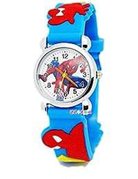 Carcasa de goma de Spiderman forma de reloj redondo esfera del reloj Mini - diseño de patrón de tela al azar - azul claro #2