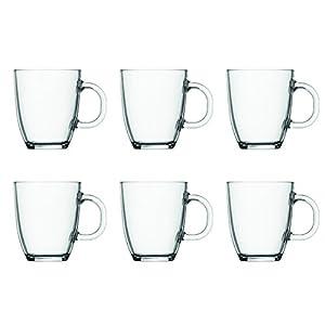 BODUM 11239-10-2 0.35 Litre 6-Piece Borosilicate Glass Bistro Coffee Mug, Transparent