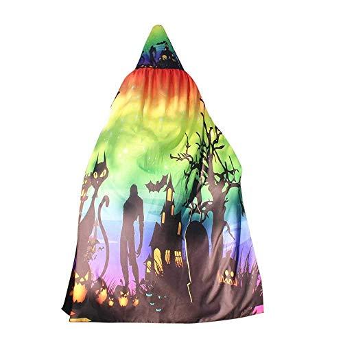 (Qiusa Halloween Frauen Neuheit Kürbis Print Cape Schal Lady Poncho Schal Wrap Kostüm (Farbe : Multicolor))