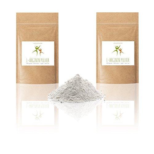 L-Arginin Base Pulver – 1 kg (2 x 500 g) – Aminosäure – Premium-Qualität alt bewährt – pflanzl. Ursprung, gewonnen durch Fermentation – 100% vegan – Glutenfrei – Laktosefrei – OHNE Hilfs- u. Zusatzstoffe