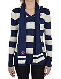 Beverly Hills Polo Club Womens Striped Jumper with Scarf