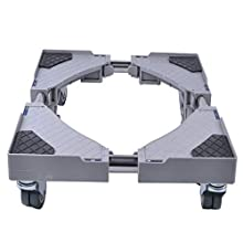 SMONTER Multi-functional Movable Base with 4×2 Locking Rubber Swivel Wheels Mobile Case Roller Dolly for Washing Machine,Dryer and Refrigerator,Grey