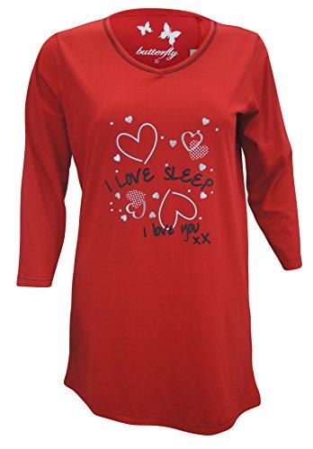 Damen Nachthemd Übergröße Nighty Casual Long loungewear PyjamaTop 'Love Sleep'Tunika, EU 44 Rot - Rot