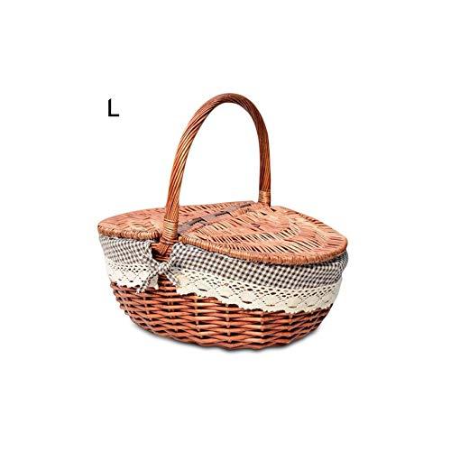 Gezellig Vesper Baskets Hand Made Wicker Picknickkorb mit Deckel Speisen Brot Camping Picknick-Korb Hamper Woven Bambus Frucht Speicher-Korb, M Kaffee -