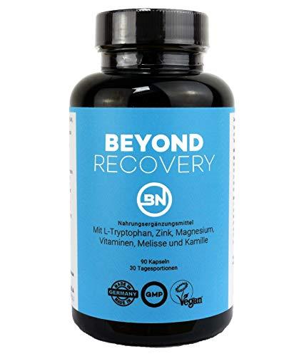 BEYOND RECOVERY - natürliches Schlafmittel ohne Chemie - 90 Kapseln - Schlaf, Regeneration & Anti-Stress Komplex - 100% pflanzlich mit Ashwagandha, Kamille & L-Tryptophan - rezeptfrei & extra stark - Erholsame Nacht Tropfen