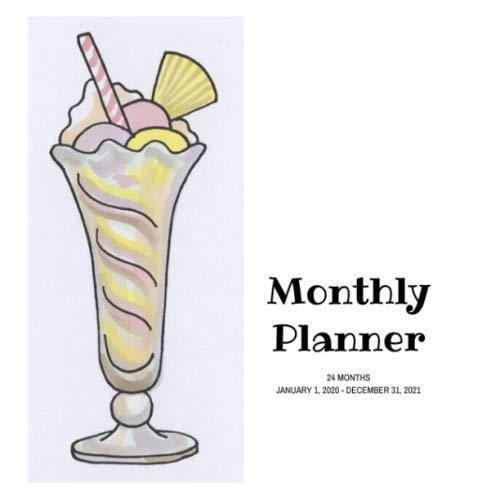 Monthly Planner: Milkshake; 24 months; January 1, 2020 - December 31, 2021; 8.5