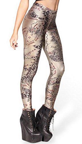 Smile YKK Pantalon Femme Slim Legging Imprimé Numérique Collant Fantaisie Casual Sport Mode Mappemonde