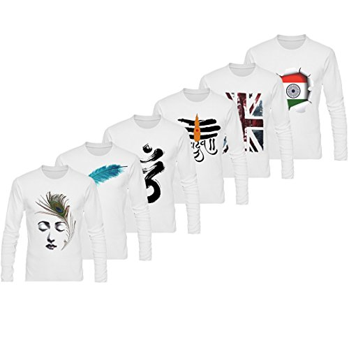 Lime Offers Set Of 6 Assorted Printed Round Neck T Shirt For Men
