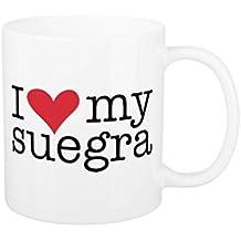 Gracioso tazas de café para mamá I Love mi suegra madre en ley taza regalos para Navidad ml taza de cerámica con forma de ambos lados