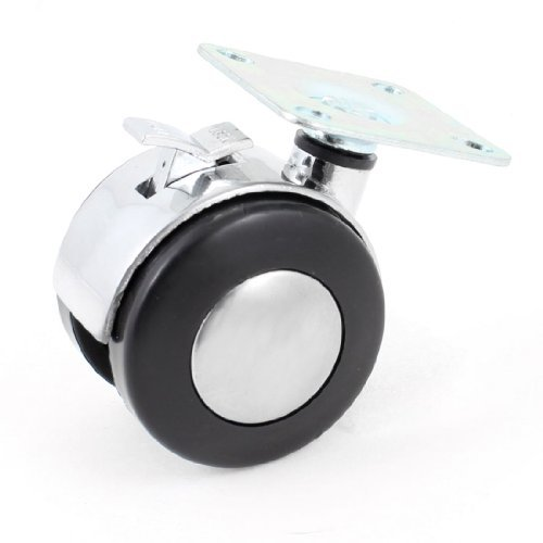 Preisvergleich Produktbild 47 mm Montageplatte 50mm Plastic Dual-Rad drehbar Caster W Bremssperre