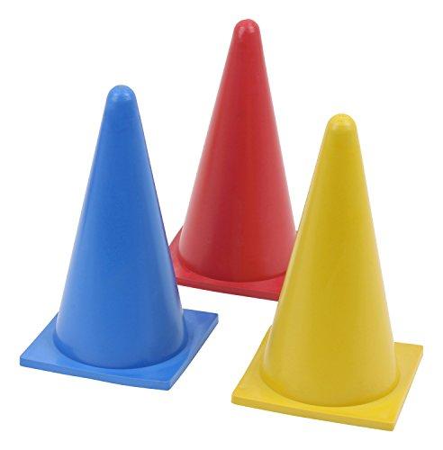 Cône flexible - hauteur: 23 cm - en caoutchouc - jaune - bleu - rouge