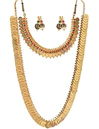 Youbella Combo Gold Plated Coin Necklace And Red Green Coin Necklace & Earrings Jewellery Set For Women
