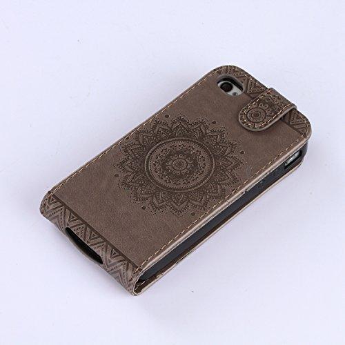 Custodia iPhone 4S,Case Cover per iPhone 4S, Ukayfe Luxury Puro Colore Modello Goffratura Murale Continental Cristallo 3D Design Bumper Slim Folio Protectiva Lussuosa Retro Custodia Cover [PU Leather] Grigio