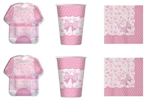 Koordinierte Mädchen Baby Girl Shower Geburt Taufe Erste Geburtstag Pink Party Dekorationen–Kit N ° 2cdc- (16Teller, 16Becher, 16Servietten)