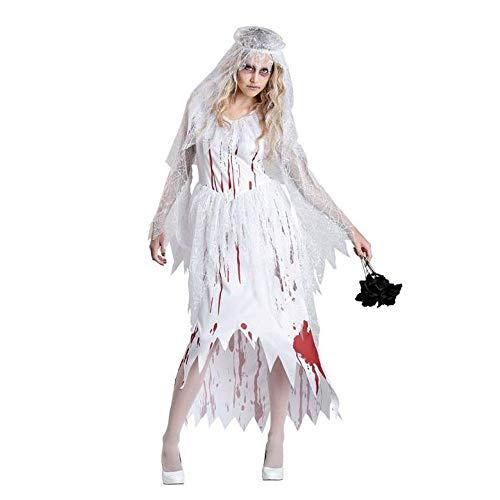 MIAO Halloween Cosplay Kostüm Erwachsene Cosplay Horror Blutige Weibliche Polizei Zombie Kostüm Geisterbraut Krankenschwester Zombie Kostüm Nonnen Geeignet Für Karneval Thema Parteien,White,XL (Kostüm Polizei Zombie)