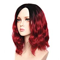 ‏‪Feilimei Synthetic Ombre Blue Wig for Women Heat Resistant Long Wavy Femal Full Wigs (RED)‬‏