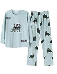 Mmllse Pyjama De Mode Dames Ensembles Pyjamas Chat Vert Impression Fille  S Habiller Dormir Mignonne Vêtements De Nuit Nuisette… c484e1a44dd